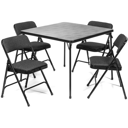 5pc. XL Series Folding Card Table and Triple Braced Fabric Padded Chair Set, Commercial Quality, Black ()