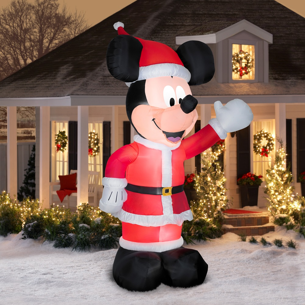 11 Inflatable Mickey Mouse In Santa Suit Air Blown Outdoor