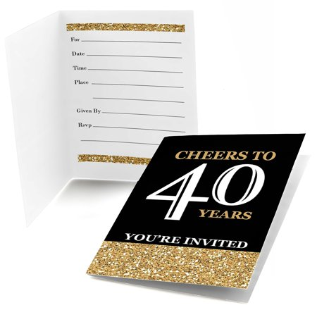 Themes For 40th Birthday Parties (Adult 40th Birthday - Gold - Fill In Birthday Party Invitations (8)