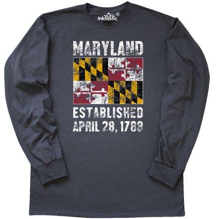 Inktastic Established April 28, 1788 Maryland Flag Long Sleeve T-Shirt State Tee