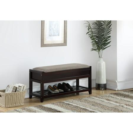 Furniture Storage Bench (Roundhill Furniture Rouen Seating Bench with Shoe Storage, Espresso )