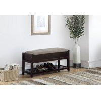 Roundhill Furniture Rouen Seating Bench with Shoe Storage, Espresso
