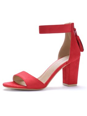 b8d7348dfef051 Product Image Unique Bargains Women s Tassel Ankle Strap Chunky Heel Sandals  Red (Size ...