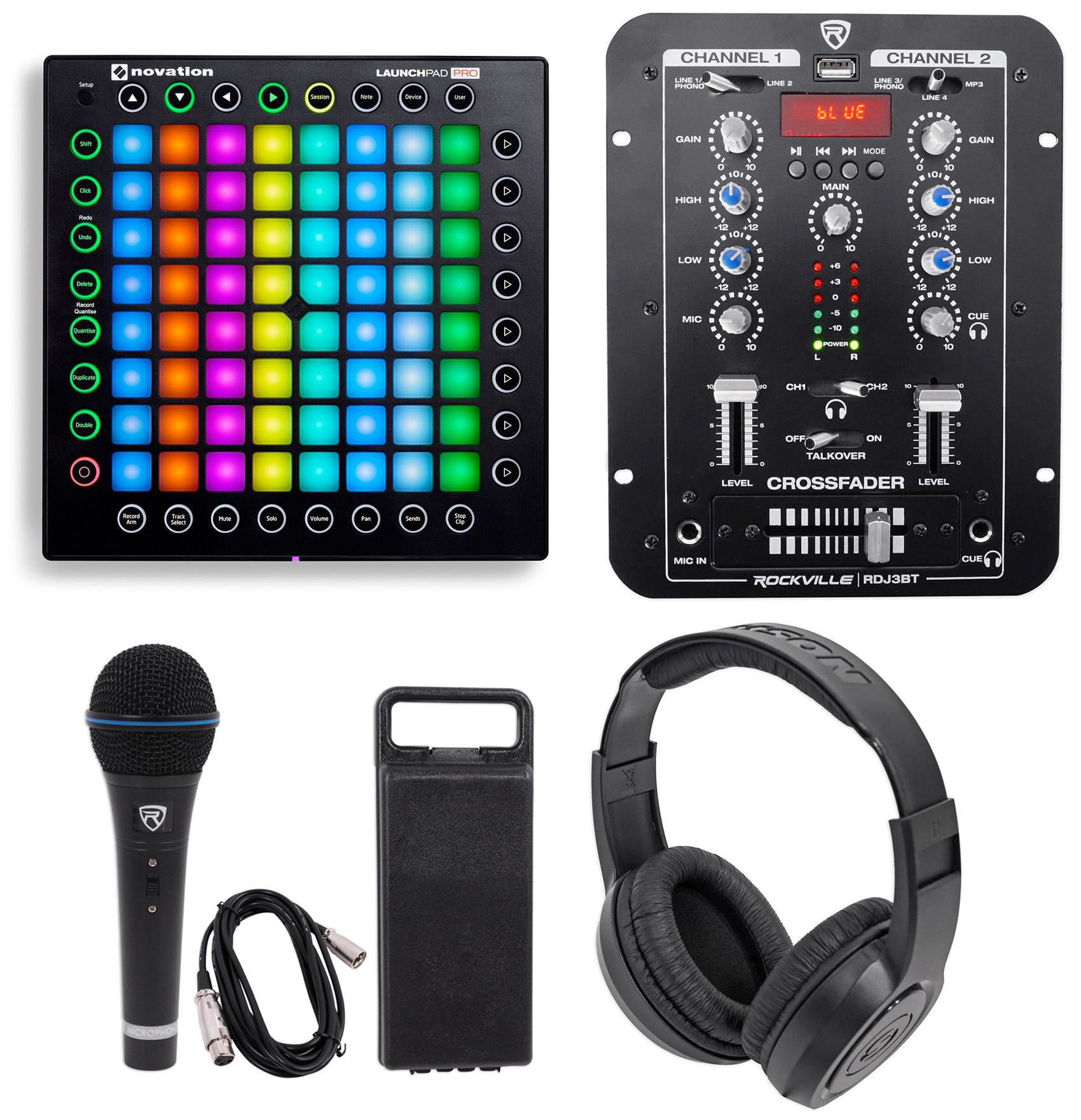 Novation Launchpad Pro USB MIDI RGB 64-Pad DJ Controller+Mixer+Headphones+Mic
