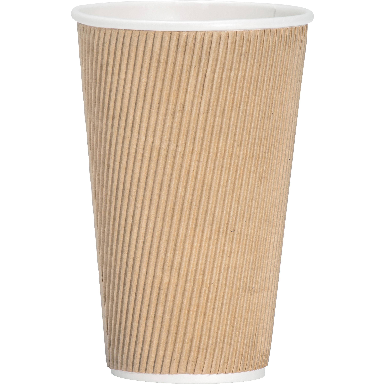 Genuine Joe Rippled Hot Cup,  16oz.,  500/CT,  Brown - GJO11257CT