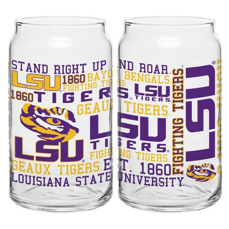 Boelter Brands NCAA Set of Two 16 Ounce Spirit Glass Can Set, Louisiana State Tigers LSU