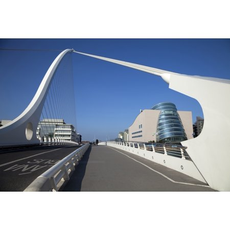 The Samual Beckett Bridge Over The River Liffey And Dublin Convention Centre Dublin City Ireland Poster Print