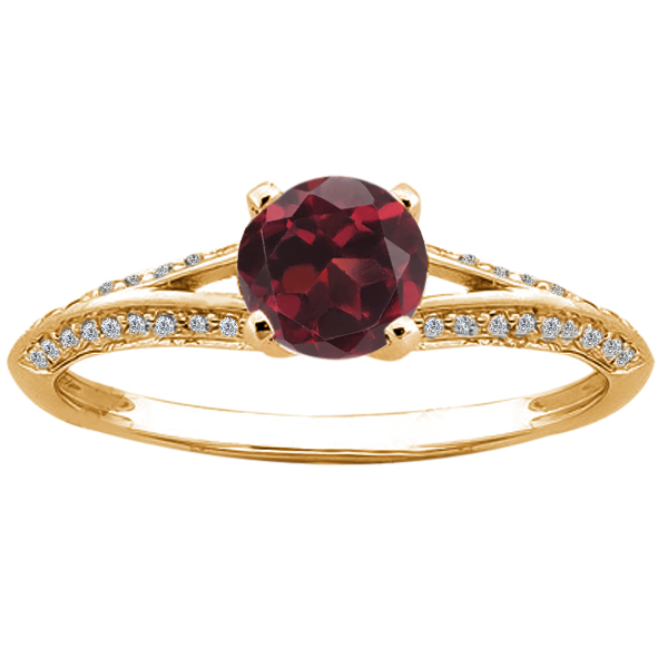 0.85 Ct Round Red Hydro Garnet Diamond 14K Yellow Gold Ring