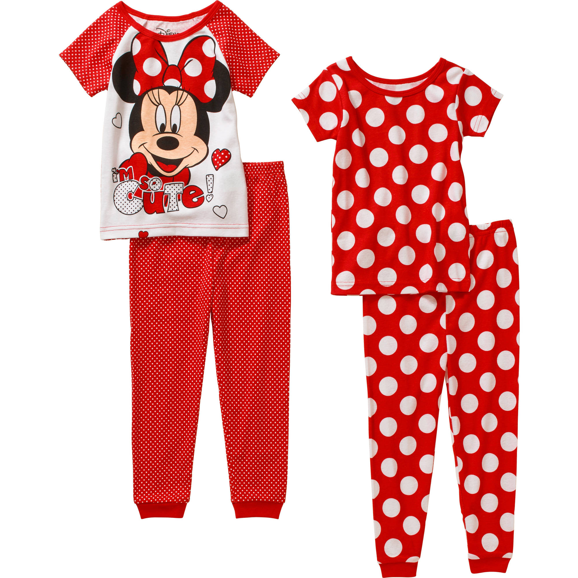 Minnie Mouse Toddler Girl Cotton Tight Fit Short Sleeve PJ Set, 4-Pieces