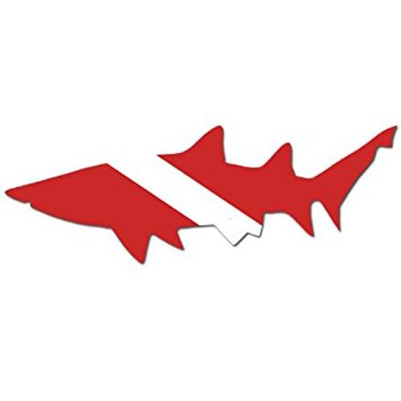 Left Facing SHARK Shaped Scuba Dive Flag Sticker Decal (diving diver) 3 x 7 (Scuba Diver Sticker)