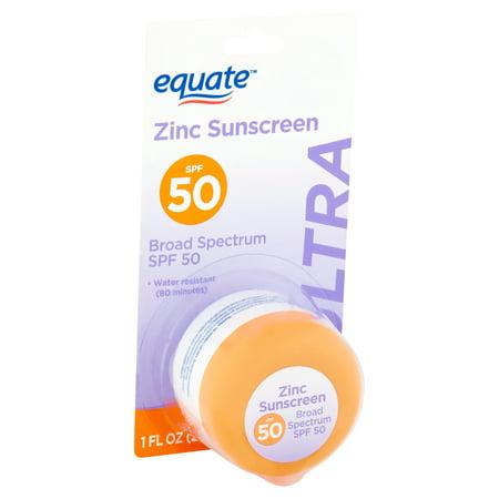 (2 pack) Equate Ultra Broad Spectrum Zinc Sunscreen, SPF 50, 1 fl (Equate Clear Zinc Oxide Sunscreen Cream Spf 50)