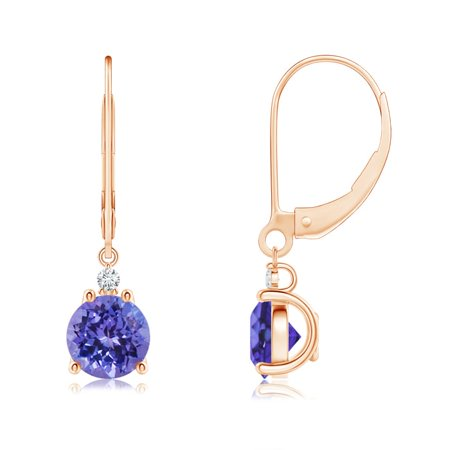 Tanzanite and Diamond Leverback Drop Earrings in 14K Rose Gold (6mm Tanzanite) - SE0998TD-RG-AA-6