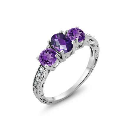 1.77 Ct Oval Checkerboard Purple Amethyst 925 Sterling Silver Ring](Purple On Mood Ring)