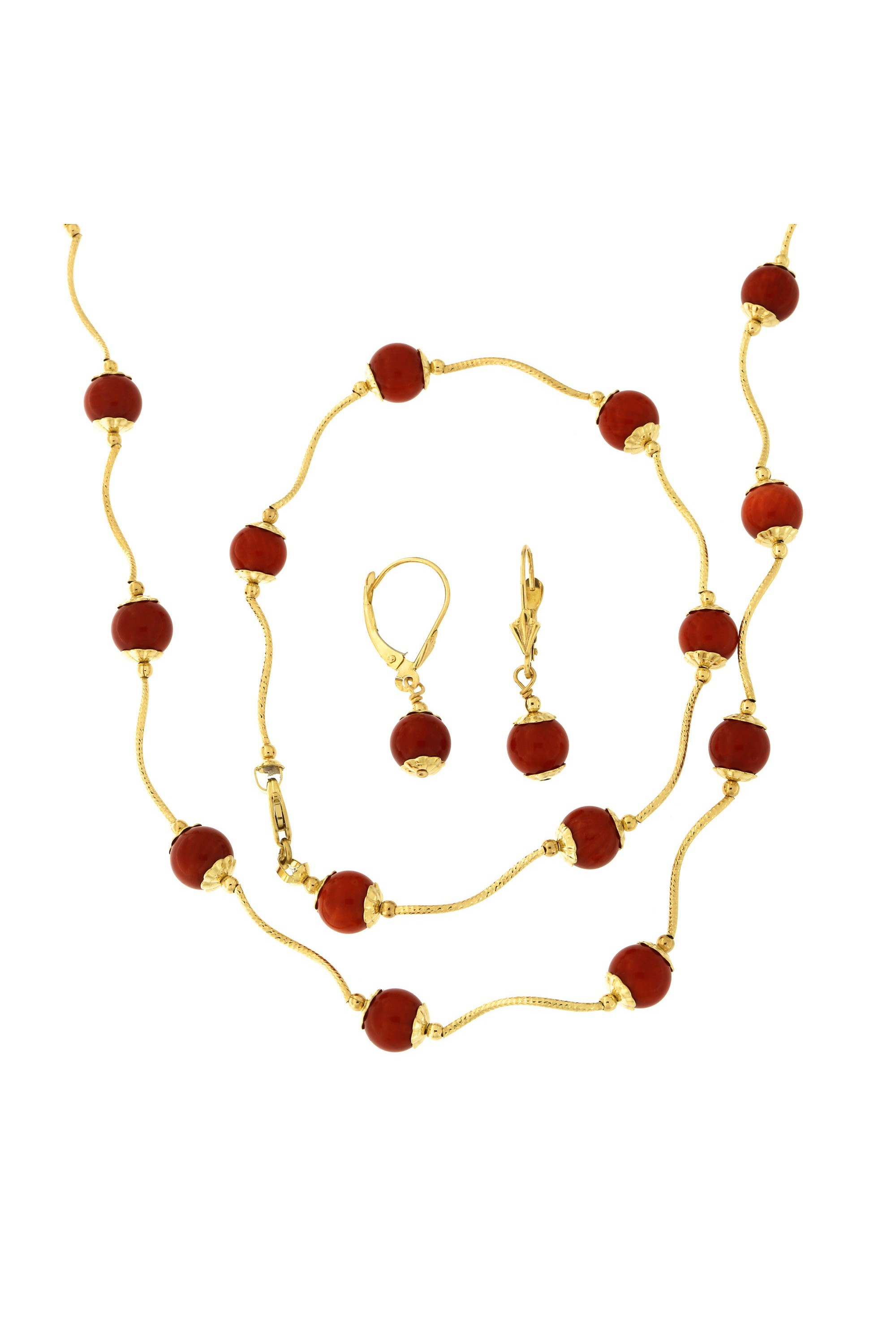 14k Yellow Gold Diamond Cut Capped Simulated Dark Coral Station Necklace, Earrings and Bracelet Set by