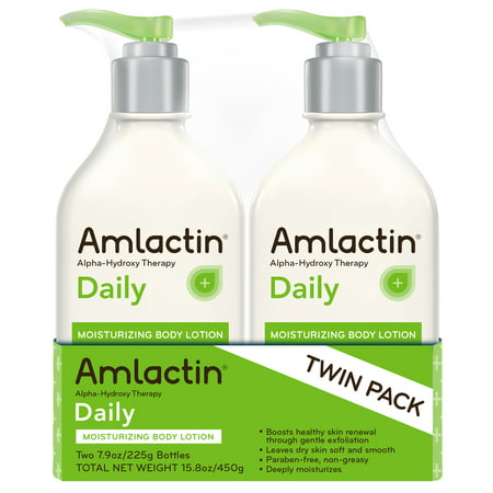 - 2 Pack, AmLactin Daily Moisturizing Body Lotion with Alpha-Hydroxy Therapy Unscented, 15.8 Oz Bottle
