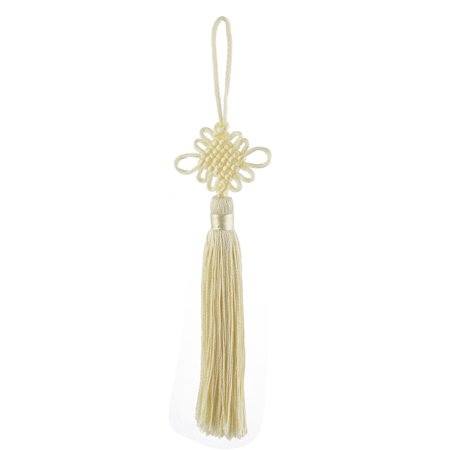 Living Room Decor Polyester Knitted Handicraft Tassel Chinese Knot Pale Yellow