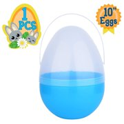 Playoly 1 Blue Jumbo 10Inch Easter Egg with Handle - The Perfect Size For Holding Toys, Candy Bars, And Stuffed Animals - Easy To Open, Tough To Break - Great As Party Favors And Easter Basket Stuffer