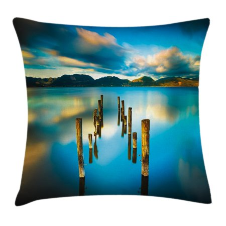 Scenery House Decor Throw Pillow Cushion Cover, Surreal Landscape with Wood Deck and Clouds in Sky Coastal Charm, Decorative Square Accent Pillow Case, 24 X 24 Inches, Turquoise White, by