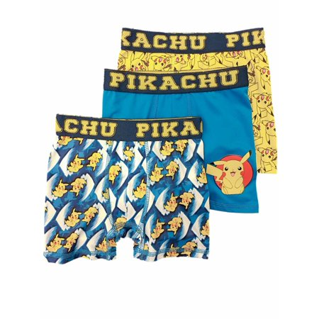 Boys 3pc Pokemon Boxer Briefs Pikachu Boxer Shorts Set Underwear](Pokemon Misty Underwear)