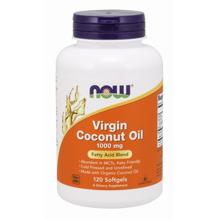 NOW Supplements, Virgin Coconut Oil 1000 mg, Cold Pressed and Unrefined, 120 (Best Coconut Oil Capsules)
