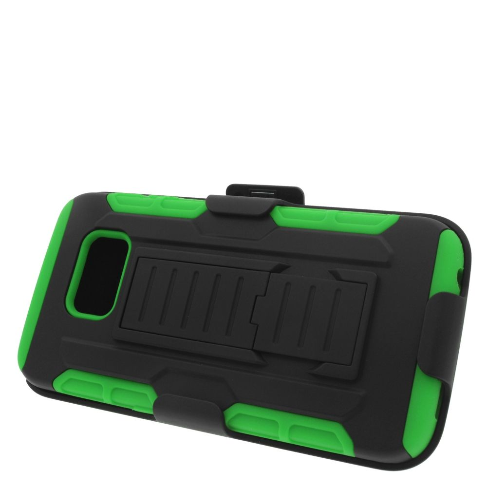 Insten Hard Hybrid Plastic Silicone Stand Case with Holster For Samsung Galaxy S6 Edge - Black/Green - image 3 de 3