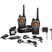 50 Channel Waterproof GMRS Two-Way Radio - Long Range Walkie Talkie with 142 Privacy Codes, SOS Siren, and NOAA Weather Alerts and Weather Scan (Black/Silver, Pair Pack)