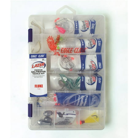 Eagle claw 12 fluke saltwater tackle kit for Fishing kit walmart