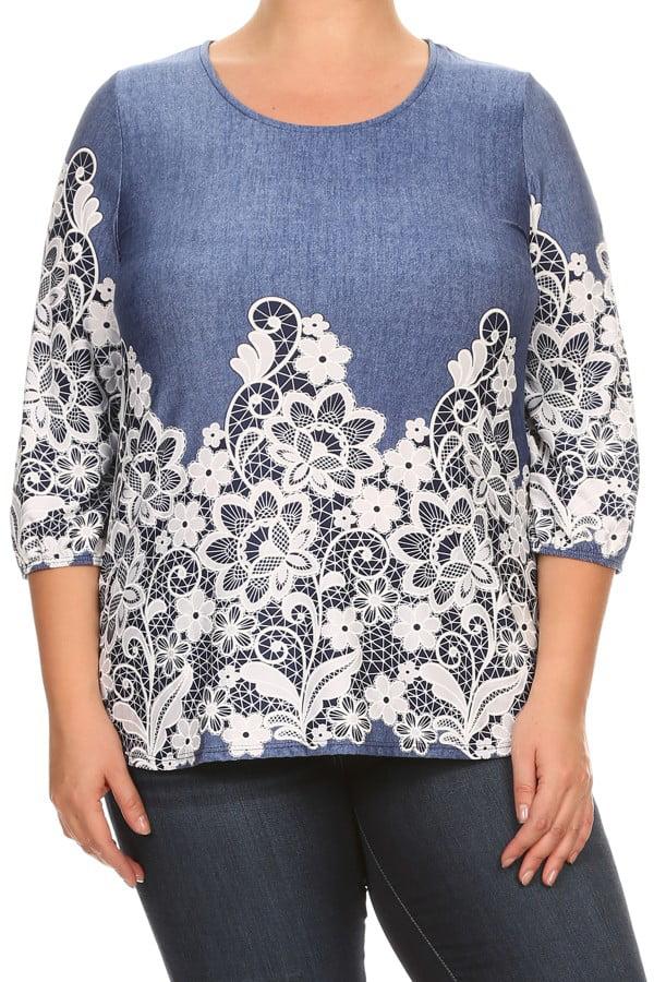 PLUS SIZE Women's  trendy style  3/4 sleeve top.
