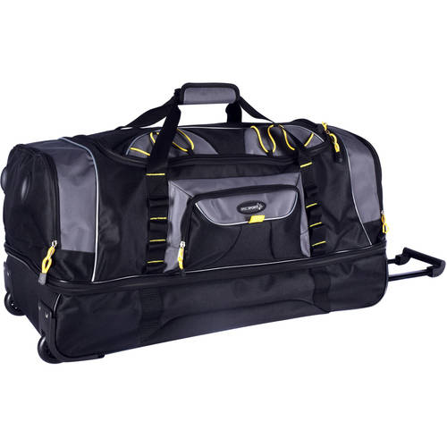 "Travelers Polo & Racquet Club TPRC 30"" 2-Section Drop-Bottom Rolling Duffel, Black"