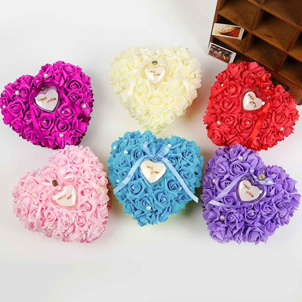 Good Romantic Rose Wedding Favors Heart Shaped Gift Ring Box Pillow Decoration DIY Artificial Handmade Flowers Decorative