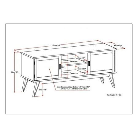 """Atlin Designs 60"""" Low TV Stand in Auburn Brown - image 2 de 5"""