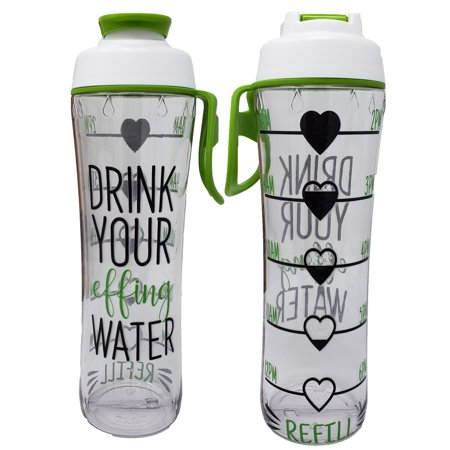 BPA Free Reusable Water Bottle with Time Marker - Motivational Fitness Bottles - Hours Marked - Drink More Water Daily - Tracker Helps You Drink Water All Day (Effing Water) - Small Reusable Water Bottles