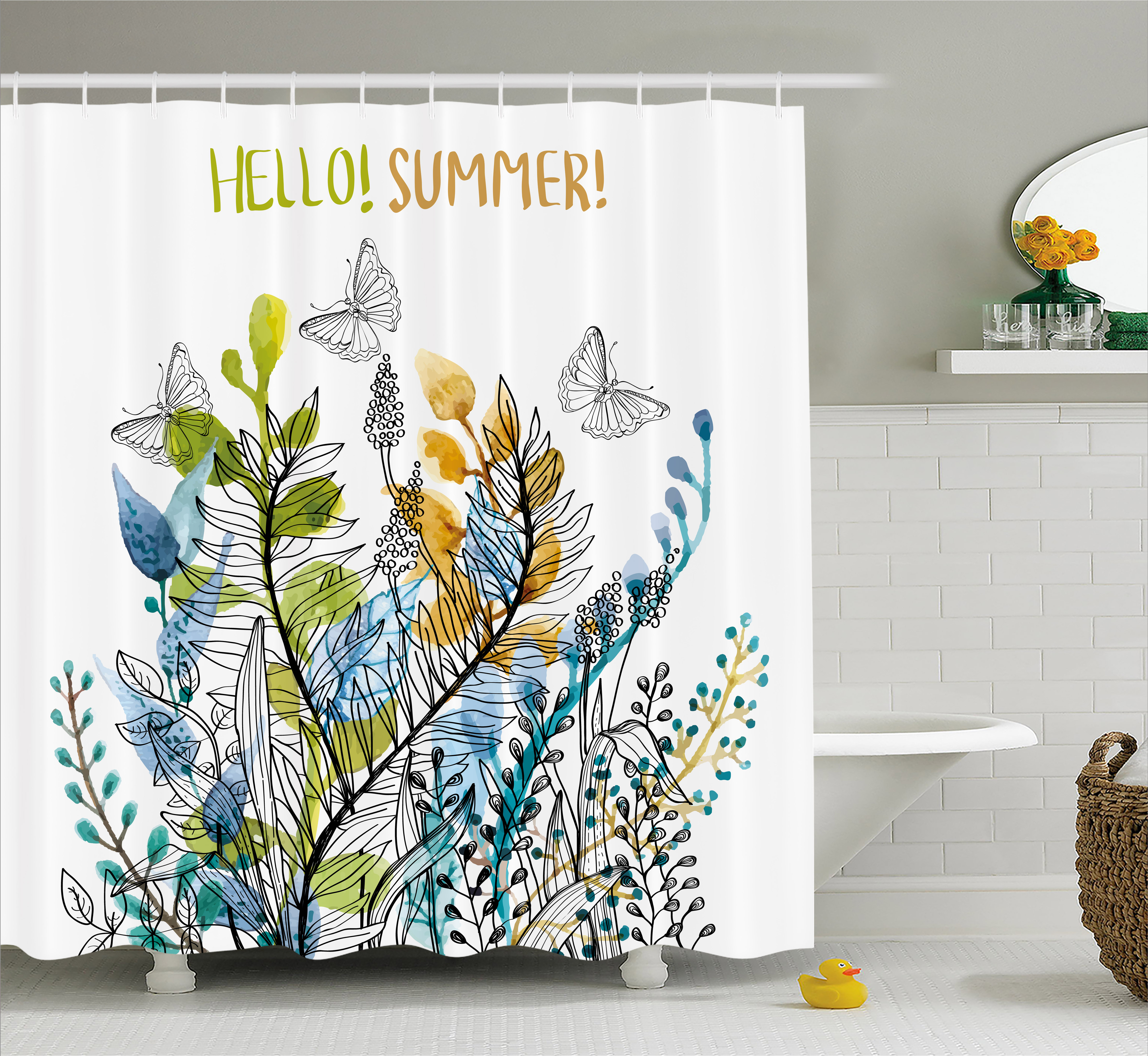 Floral Shower Curtain, Hello Summer with Watercolor Fern Branch Butterfly Harvest Season Paint, Fabric Bathroom Set with Hooks, 69W X 75L Inches Long, Amber Olive Green Blue, by Ambesonne