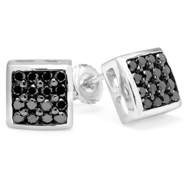 Majesty Diamonds Pave Black Diamond Stud Earrings in 10K White Gold With Screw Backs, 0. 5 Carat