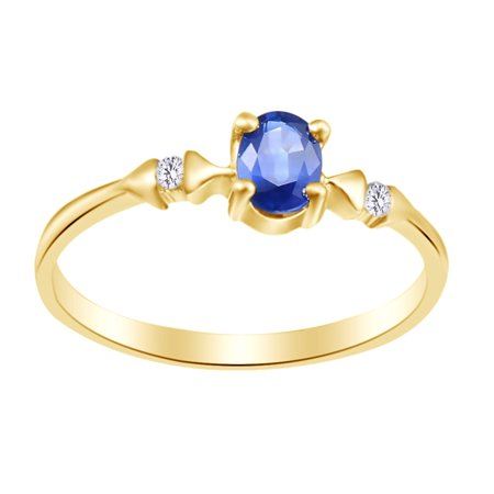 Oval Cut Simulated Blue Sapphire, White Natural Diamond Engagement Ring In 10k Yellow Gold (0.6 cttw), Ring Size-4