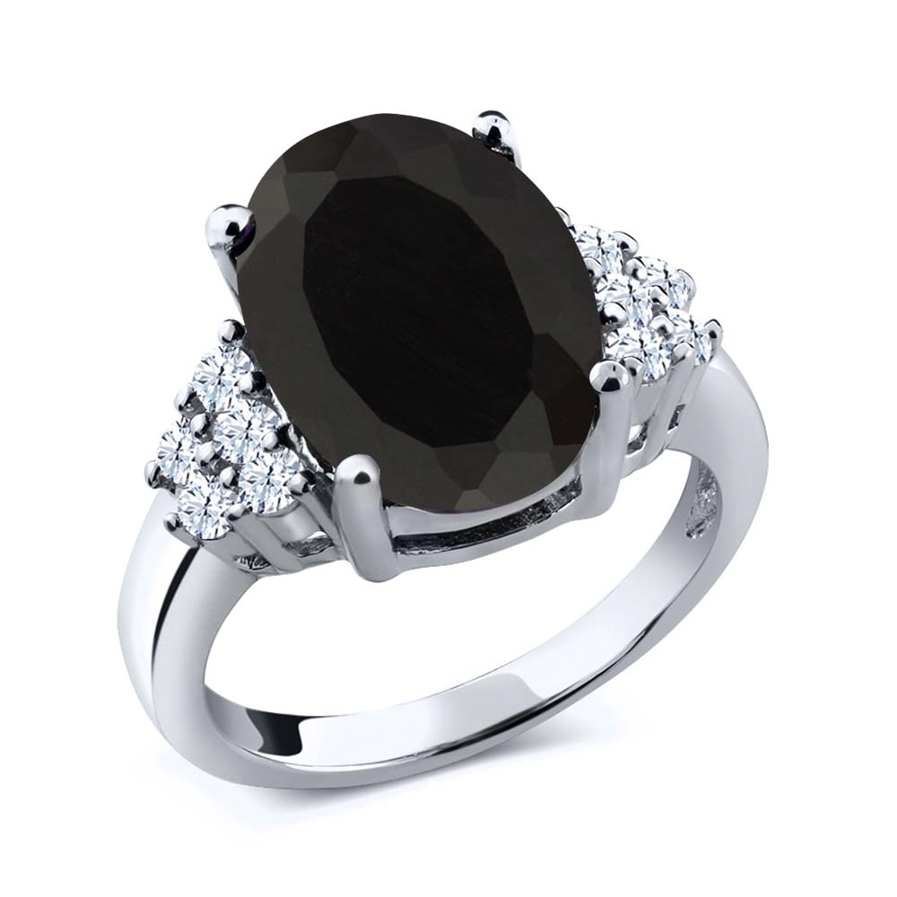 4.40 Ct Oval Black Onyx White Created Sapphire 925 Sterling Silver Ring