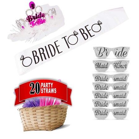 Best Bachelorette Party Supplies Kit, Straws Favors - Hen Party Supplies Decorations - Sash, Tiara, Party Straws and Wedding Photo Booth Prop Glasses - Sweet Sixteen Sash And Tiara