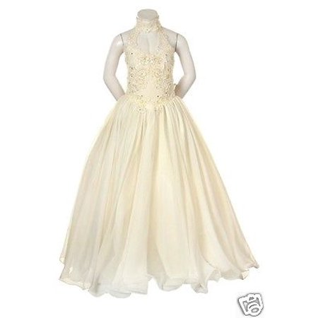 6f869e709 Leadertux - New Teen Girls Pageant Wedding Flower Girl Ivory Formal ...