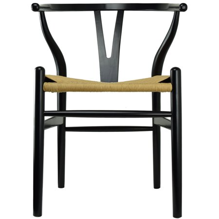 2xhome Black Wishbone Wood Armchair With Arms Open Y Back Open Mid Century Modern Contemporary Assembled Chair Dining Chairs Woven Seat Brown for Kitchen Living Desk Office Guest Work Home