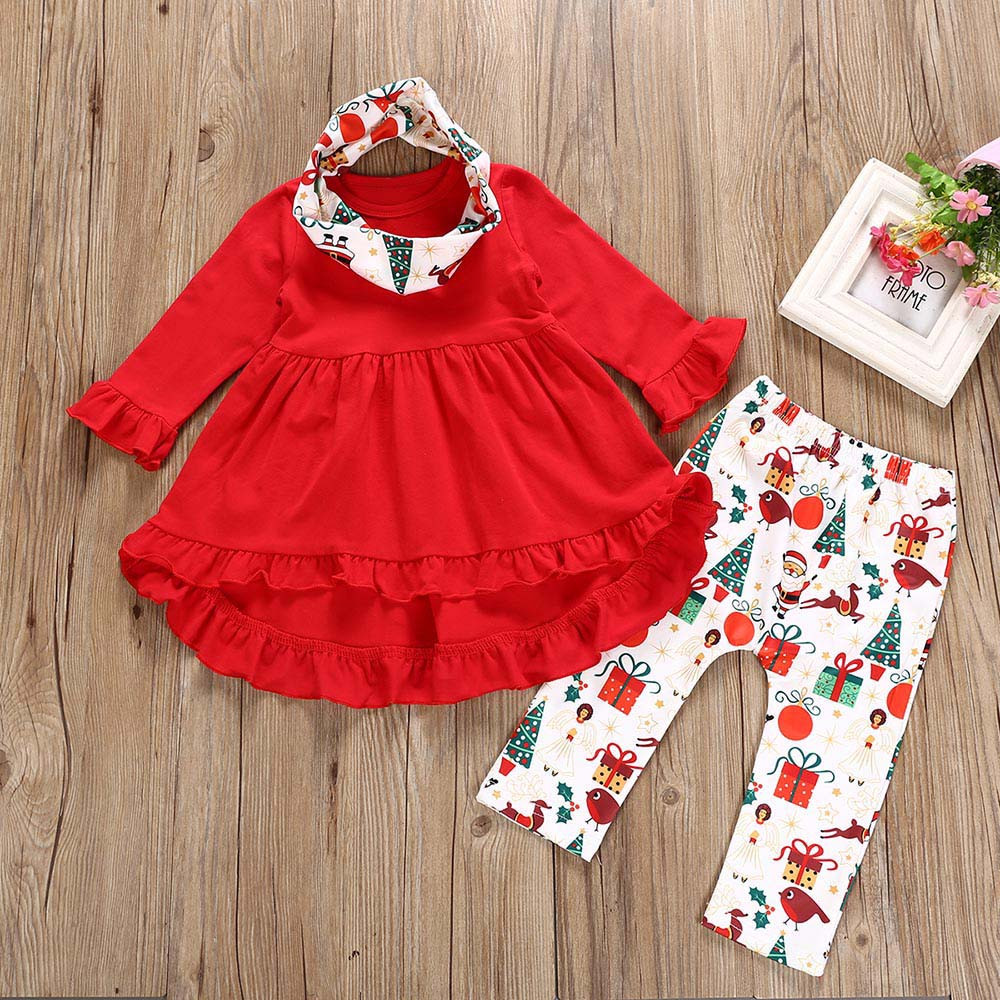 Iuhan Toddler Baby Girls Christmas XMAS Deers Print Dresses Pants Outfits Clothing Set