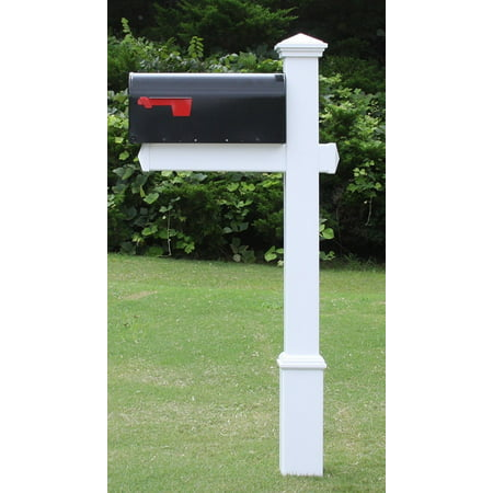 The Homestead Mailbox System with White Vinyl Post Combo, Stand, and Black Mailbox Included