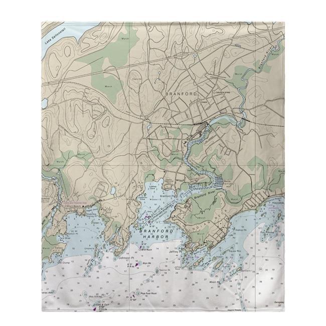 Betsy Drake BK12373BR 50 x 60 in. Branford Harbor, CT Nautical Map Fleece Throw