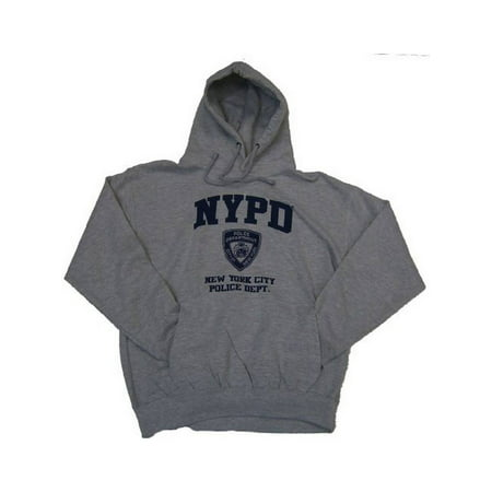Adult NYPD Oxford Grey Pullover Hoodie with Navy
