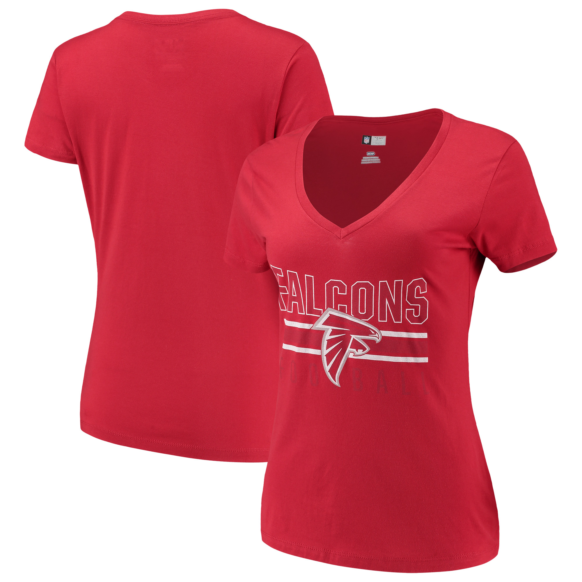 Women's Majestic Red Atlanta Falcons Game Day Style V-Neck T-Shirt