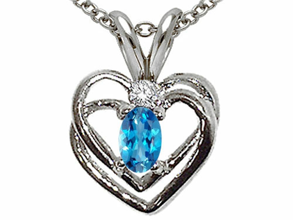 Tommaso Design Oval 5x3mm Genuine Blue Topaz Heart Pendant Necklace by
