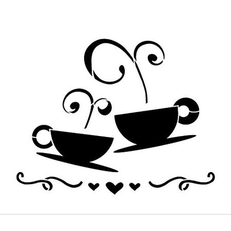Tea Coffee Love Stencil by StudioR12 | Fancy Cafe Art - Small 7 x 6-inch Reusable Mylar Template | Painting, Chalk, Mixed Media | Use for Journaling, DIY Home Decor