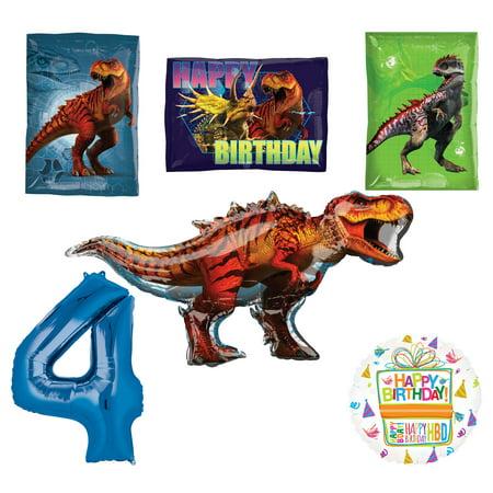 Jurassic World Dinosaur 4th Birthday Party Supplies and Balloon Decorations