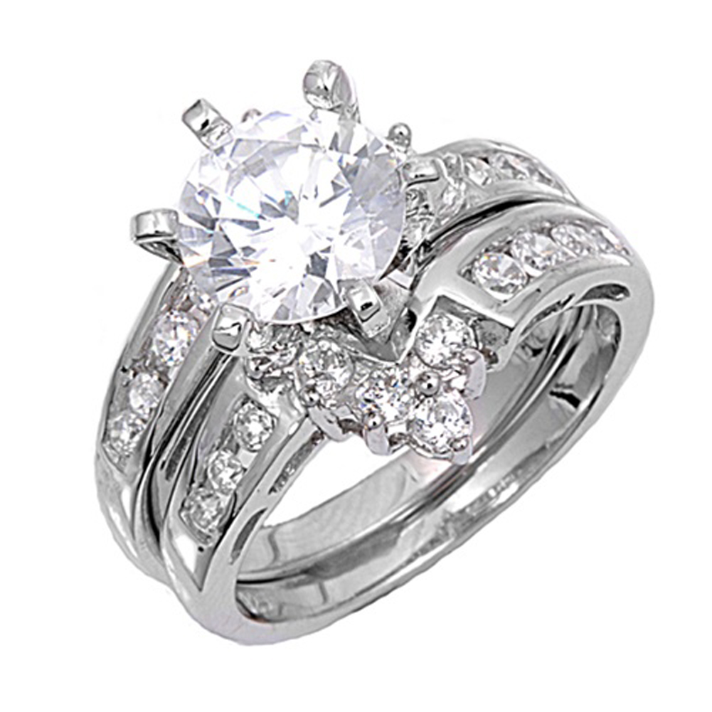 Sterling Silver Custom Engagement Ring ( Sizes 4 5 6 7 8 9 10 11 12 ) Wedding Band Bridal Set Rings by Sac Silver (Size 5)