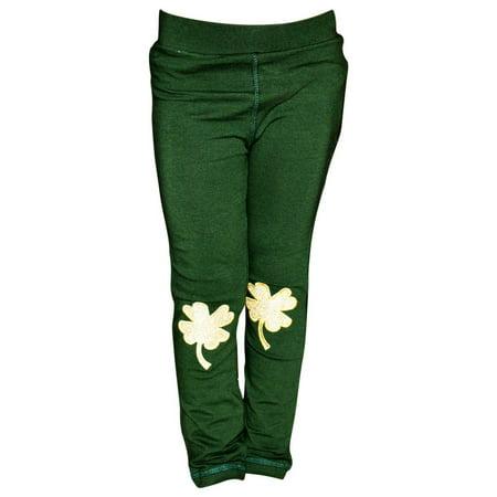Girls ST Patrick's Day Gold Clover Leggings (18 (St Patrick's Day Leggings)