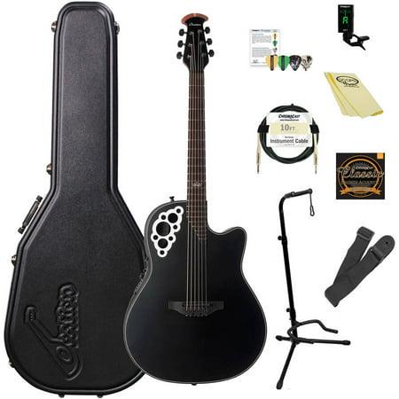 Artist Signature Guitars - Ovation Kaki King Signature Elite 2078-KK Acoustic-Electric Guitar (Satin Black) with ChromaCast Accessories